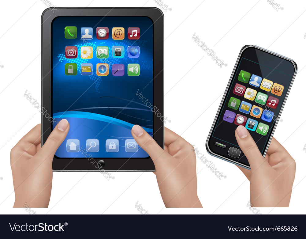 Hands holding digital tablet computer vector image
