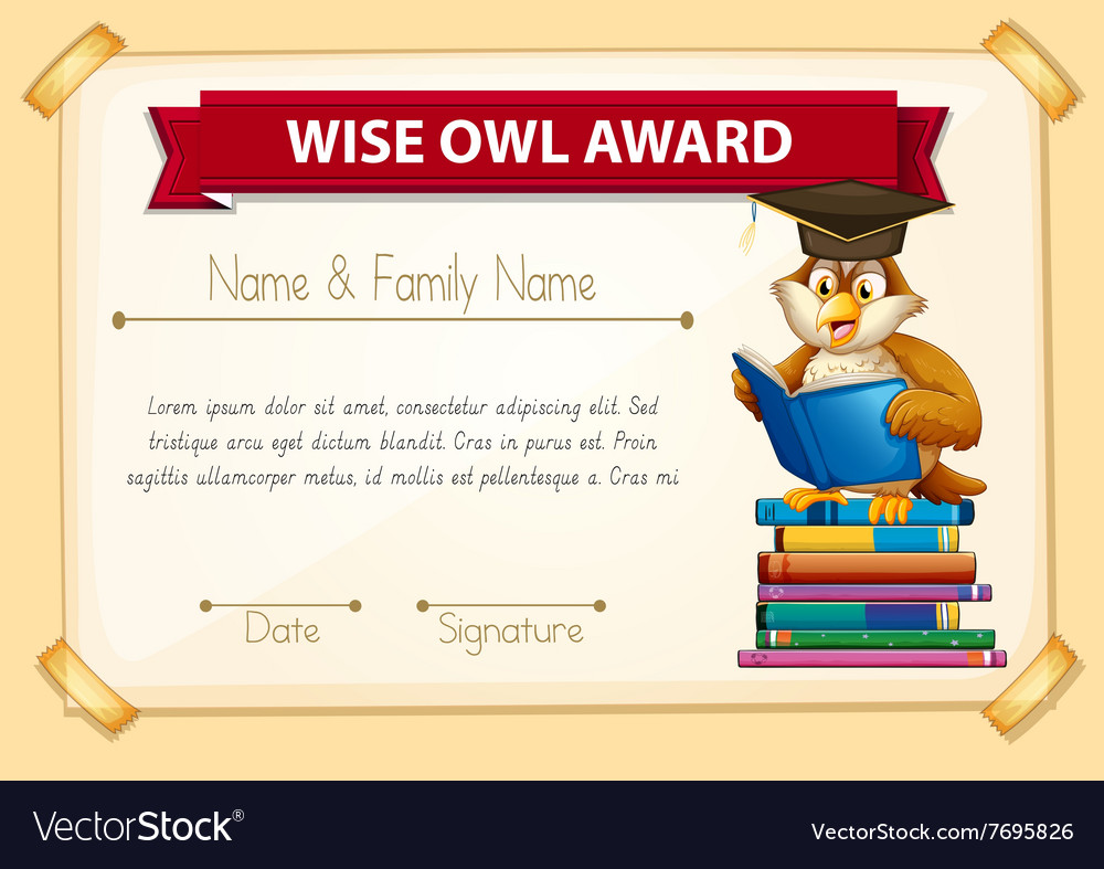 Certificate template with owl reading books vector image certificate template with owl reading books vector image yadclub Choice Image