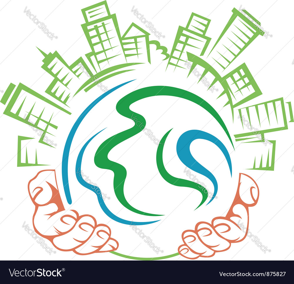 Earth globe in people hands vector image