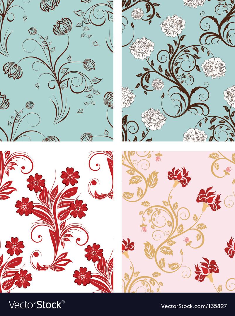 Floral backgrounds set vector image