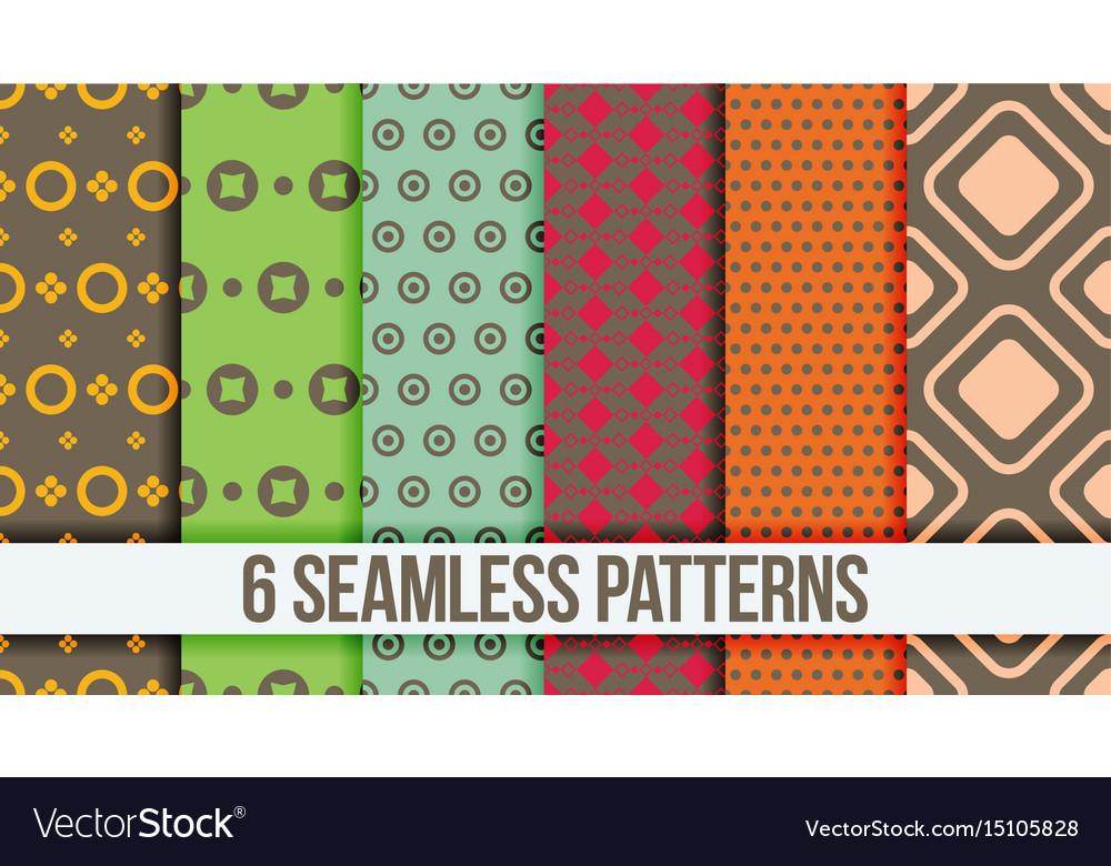 Six seamless geometric patterns vector image