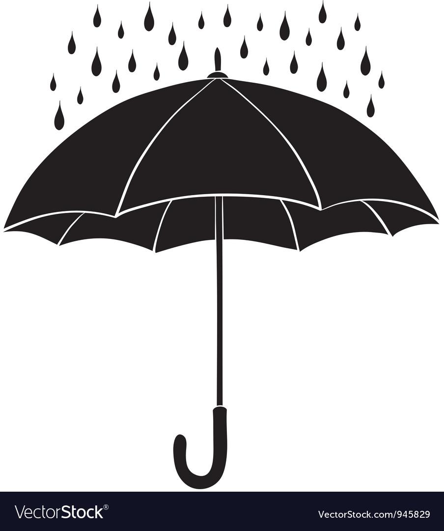 Umbrella and rain silhouettes vector image