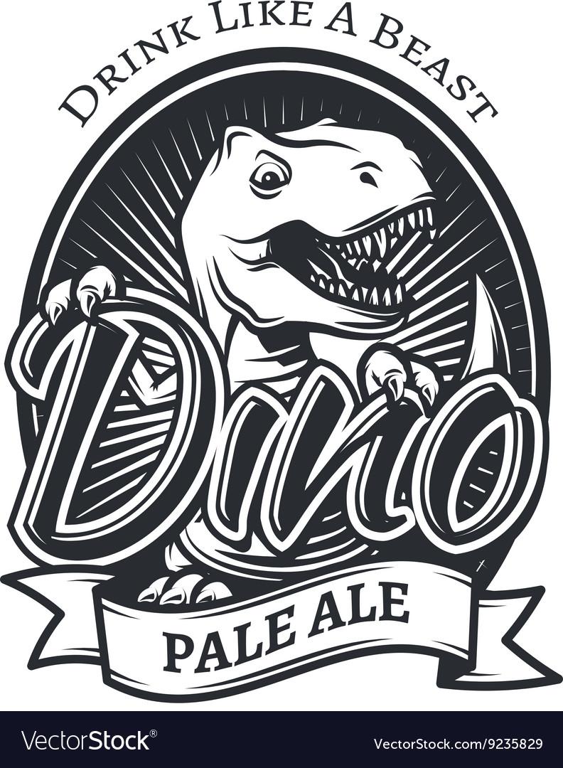 Dinosaur craft beer brewery logo concept T vector image
