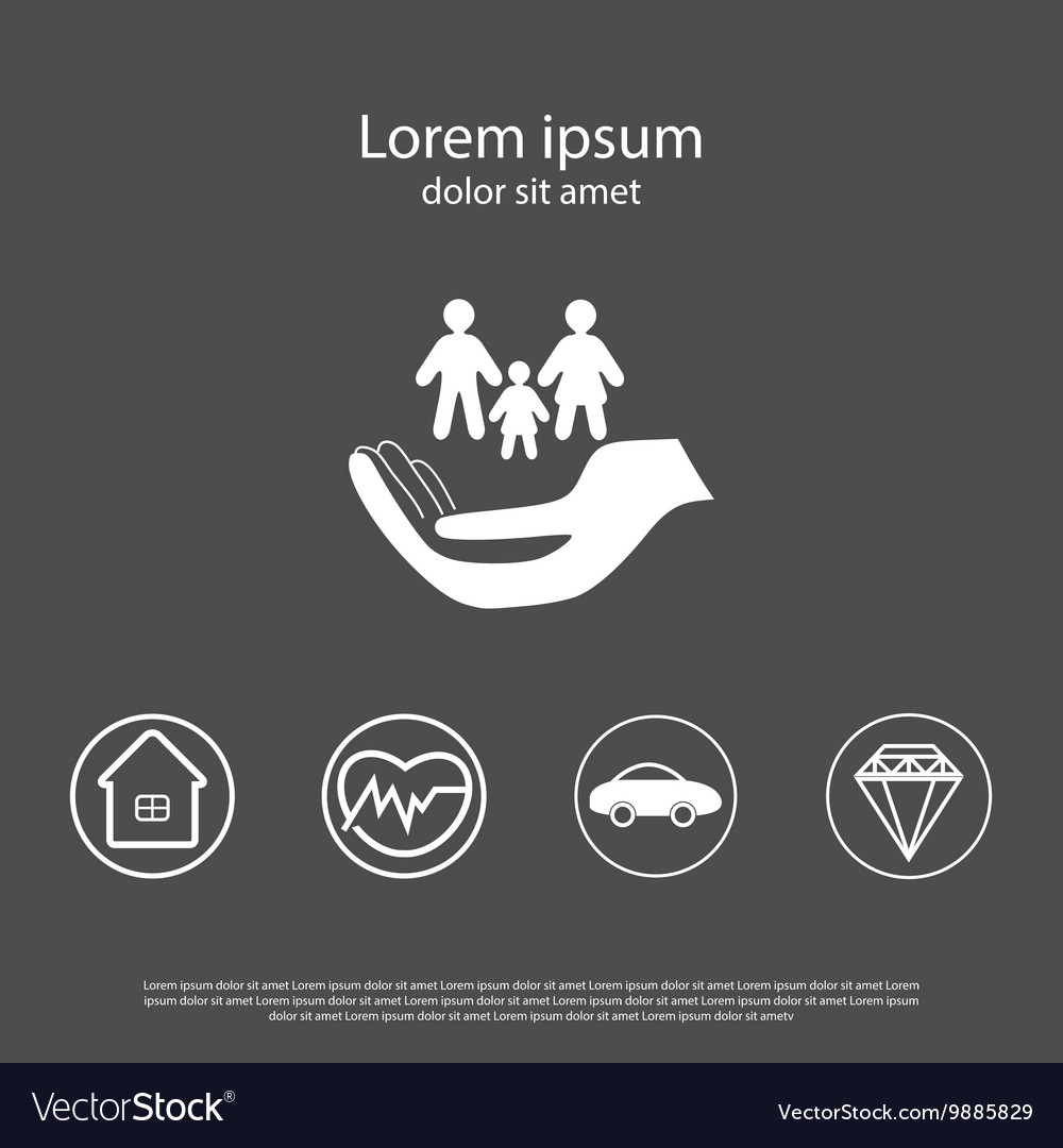 Insurance icons set in flat style vector image