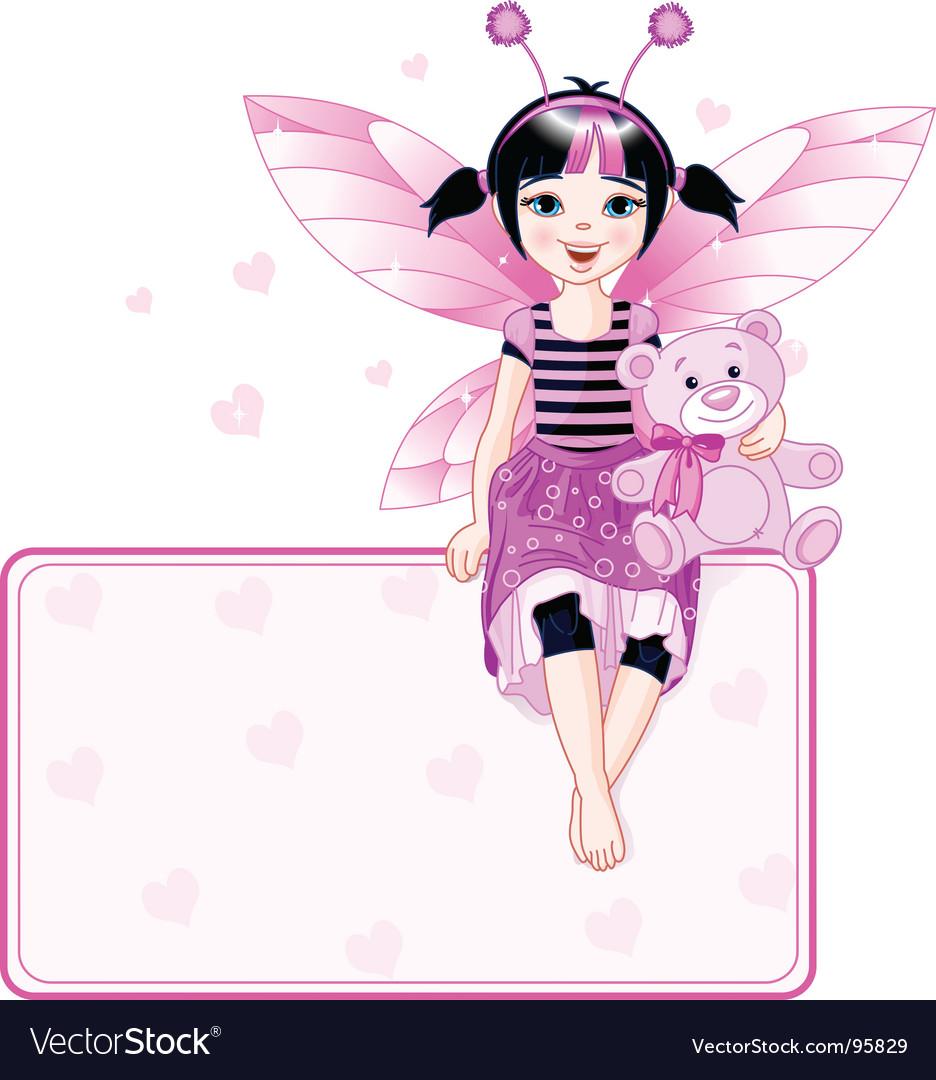 Little cute fairy place card vector image