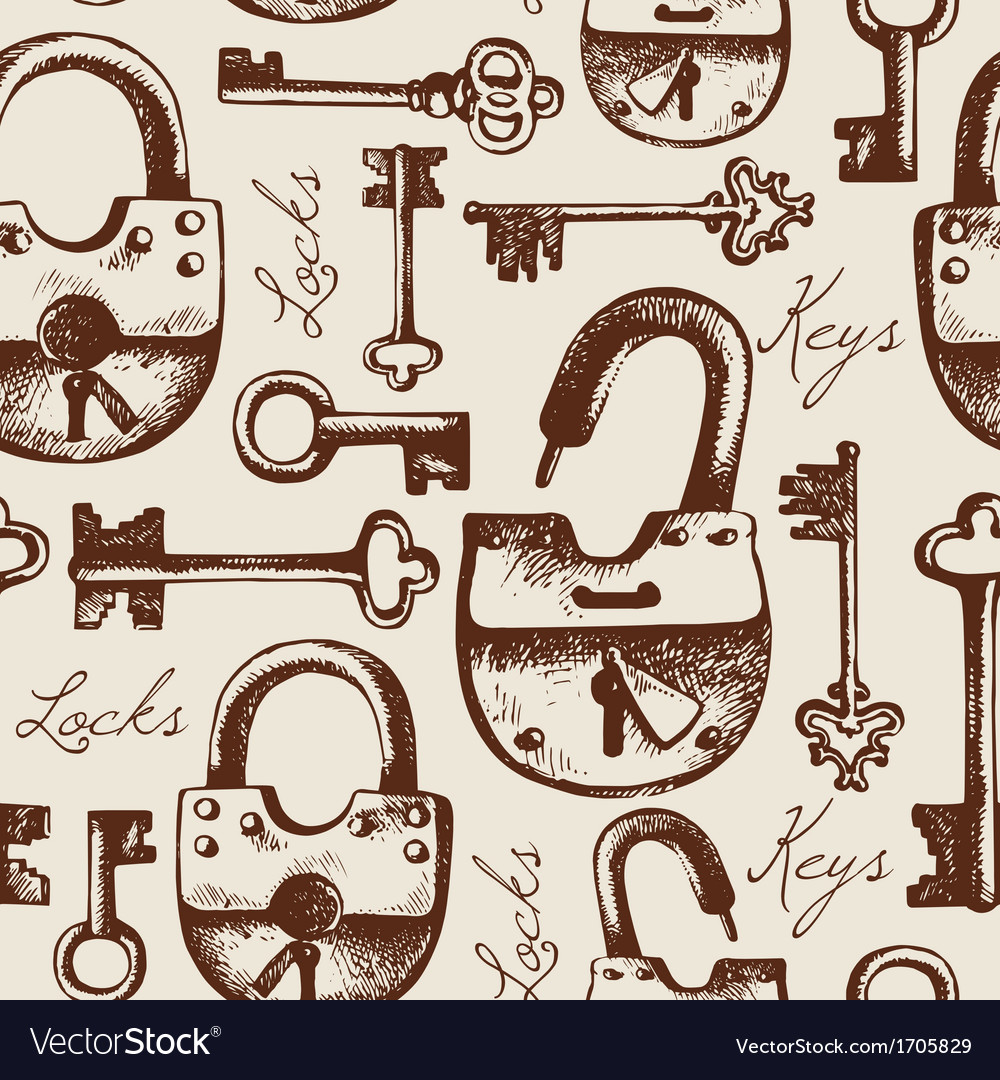 Vintage seamless pattern of locks and keys vector image