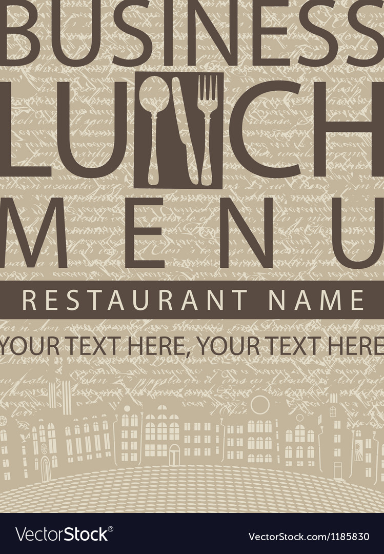 Business lunch menu vector image
