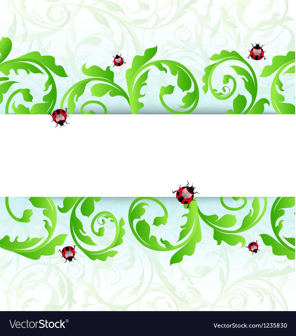 Eco friendly background with ladybugs vector image