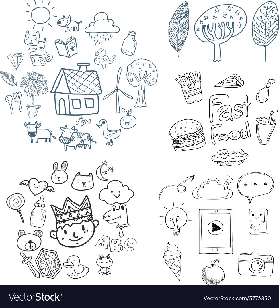Kid doodle Drawing vector image