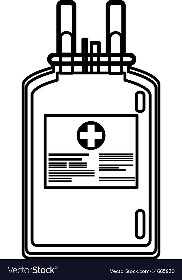 Plastic bag blood donate health care line vector image