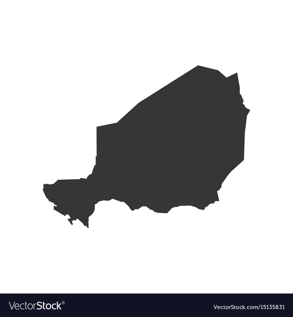 Niger map silhouette Royalty Free Vector Image