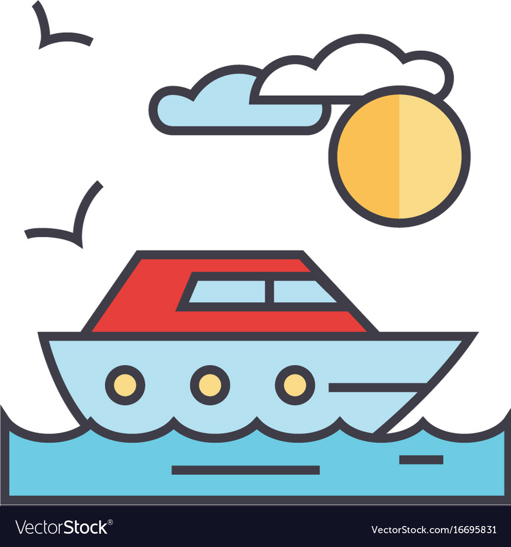 Sea travel yacht concept line icon vector image