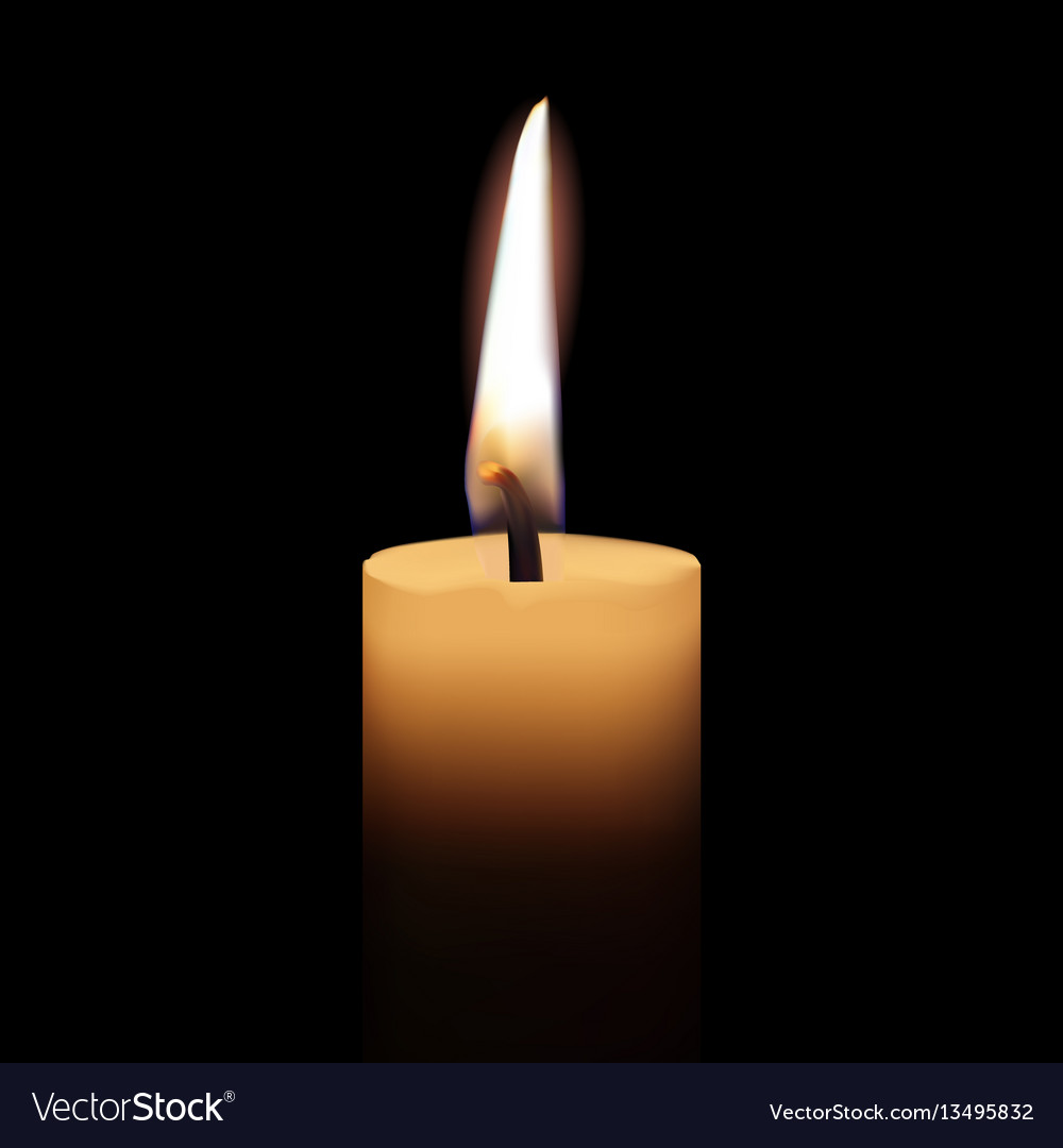 Yellow candle on black background vector image