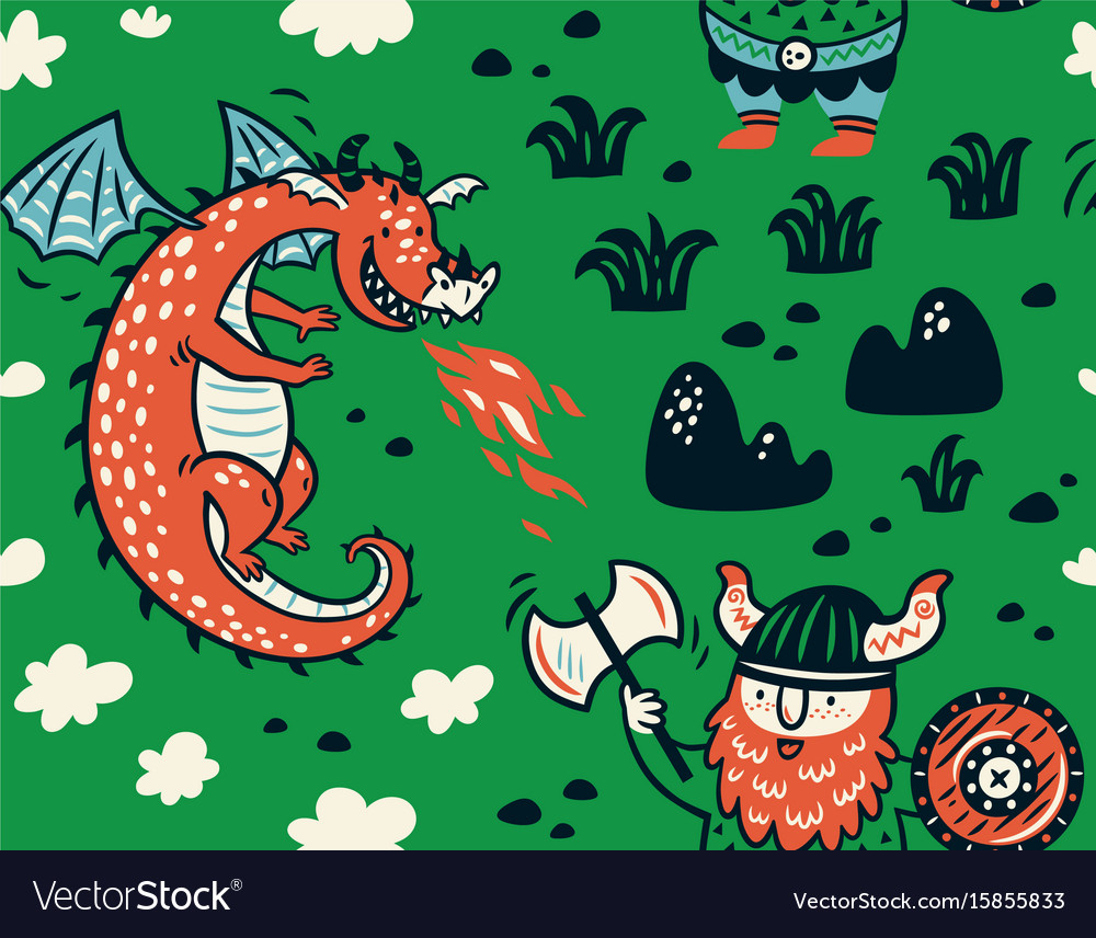 Seamless pattern with viking for design fabric vector image