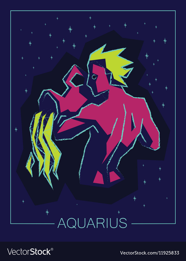 Zodiac sign Aquarius on night starry background vector image
