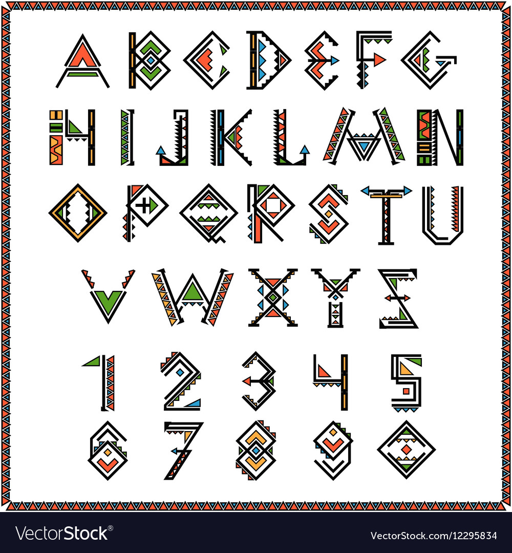 Native american indian font or mexican alphabet vector image