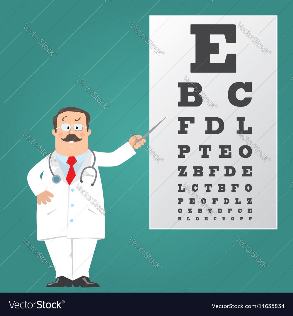 Optician doctor with snellen eye chart doctor vector image geenschuldenfo Choice Image