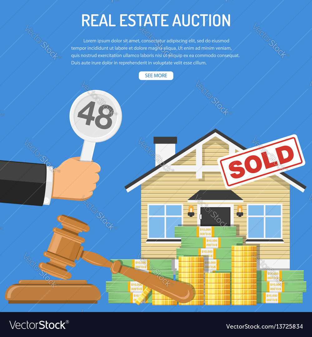 Sale real estate at auction vector image