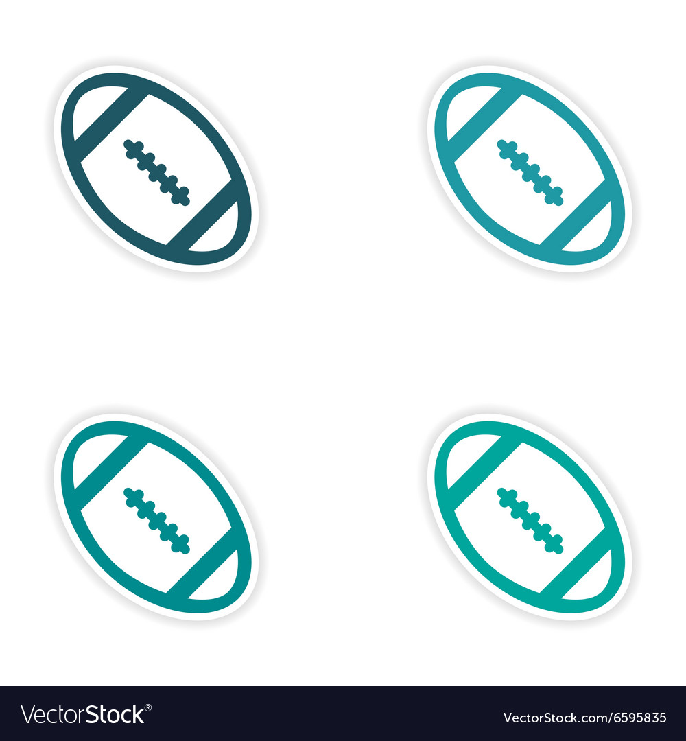 Set of stickers rugby ball on white background