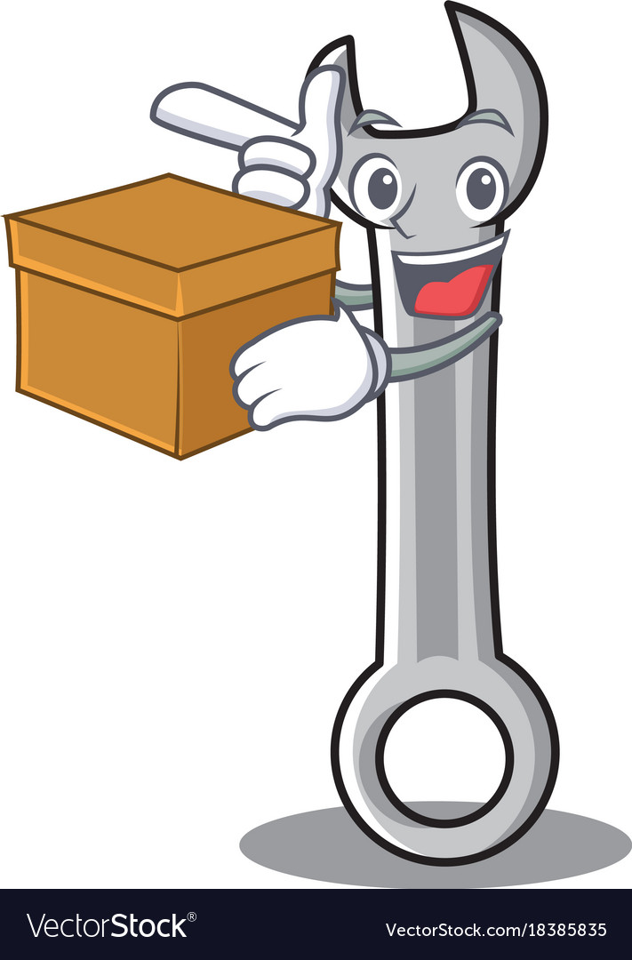 With box spanner character cartoon style vector image