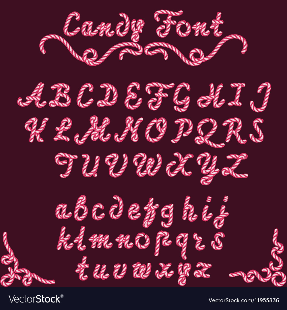 Candy font sweet type vector image