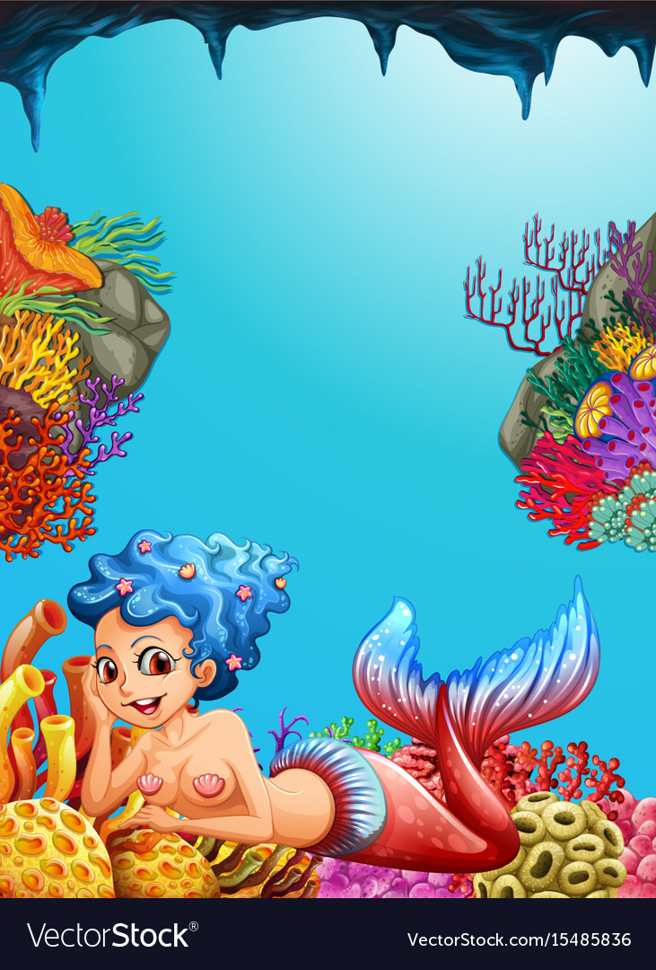 Mermaid swimming under the ocean vector image