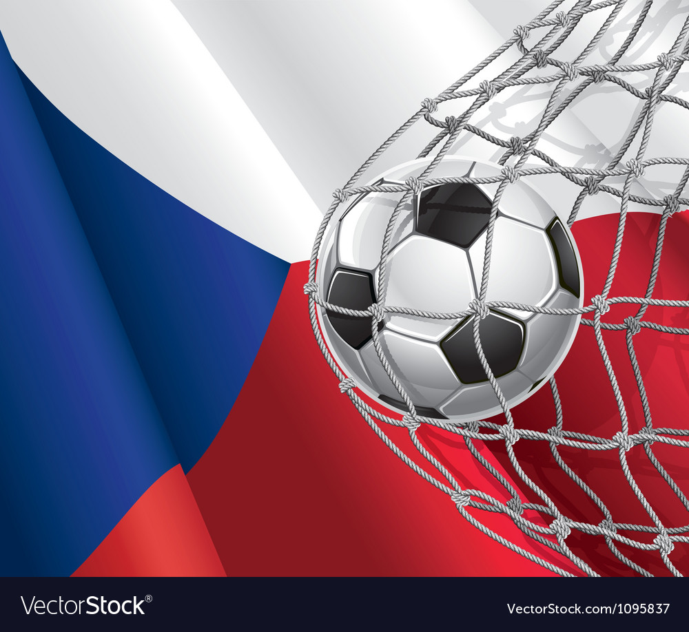 Soccer goal and Czech flag vector image