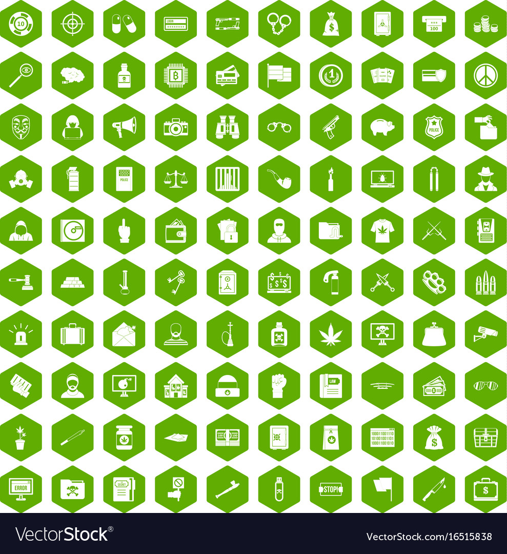 100 criminal offence icons hexagon green vector image