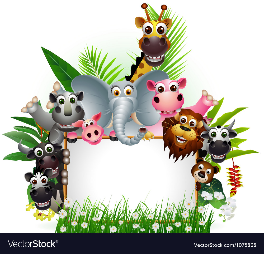 Funny animal with blank sign vector image