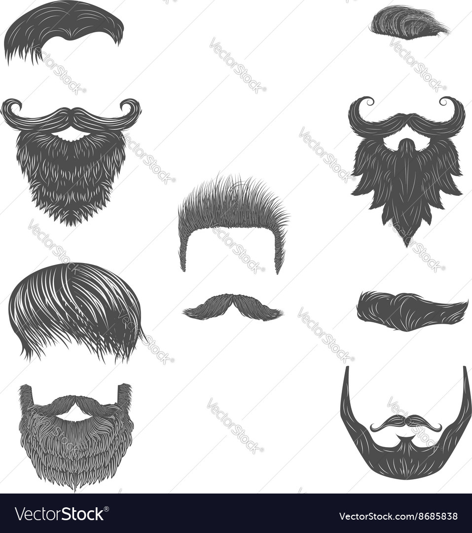 Set of hairstyles beards vector image