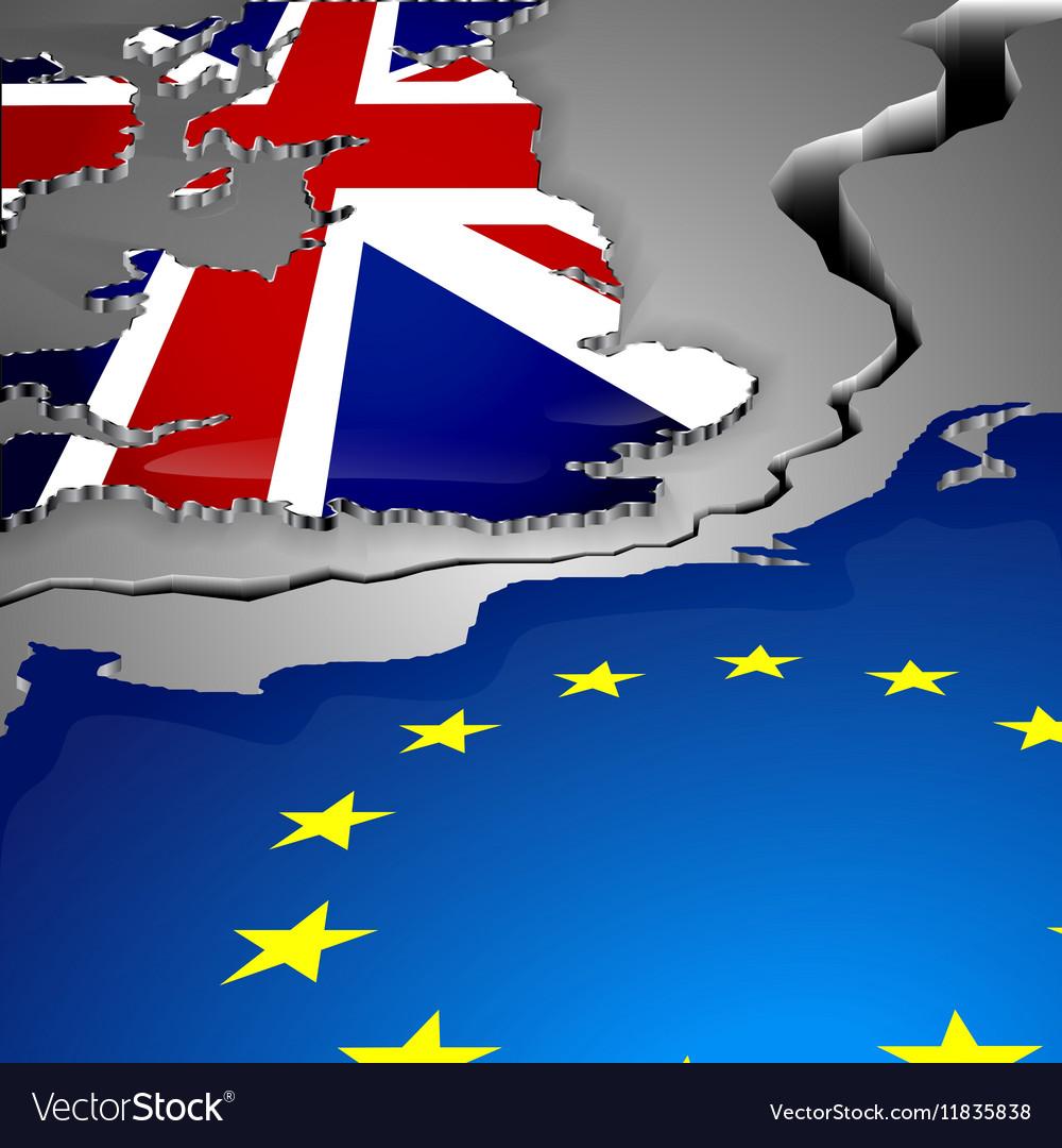 The cut as big gap between Great Britain and vector image