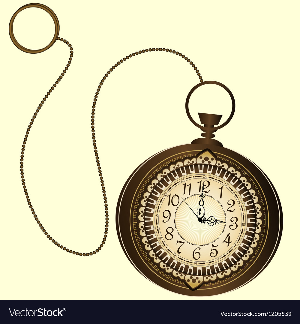 Icon of retro pocket watches with chain vector image