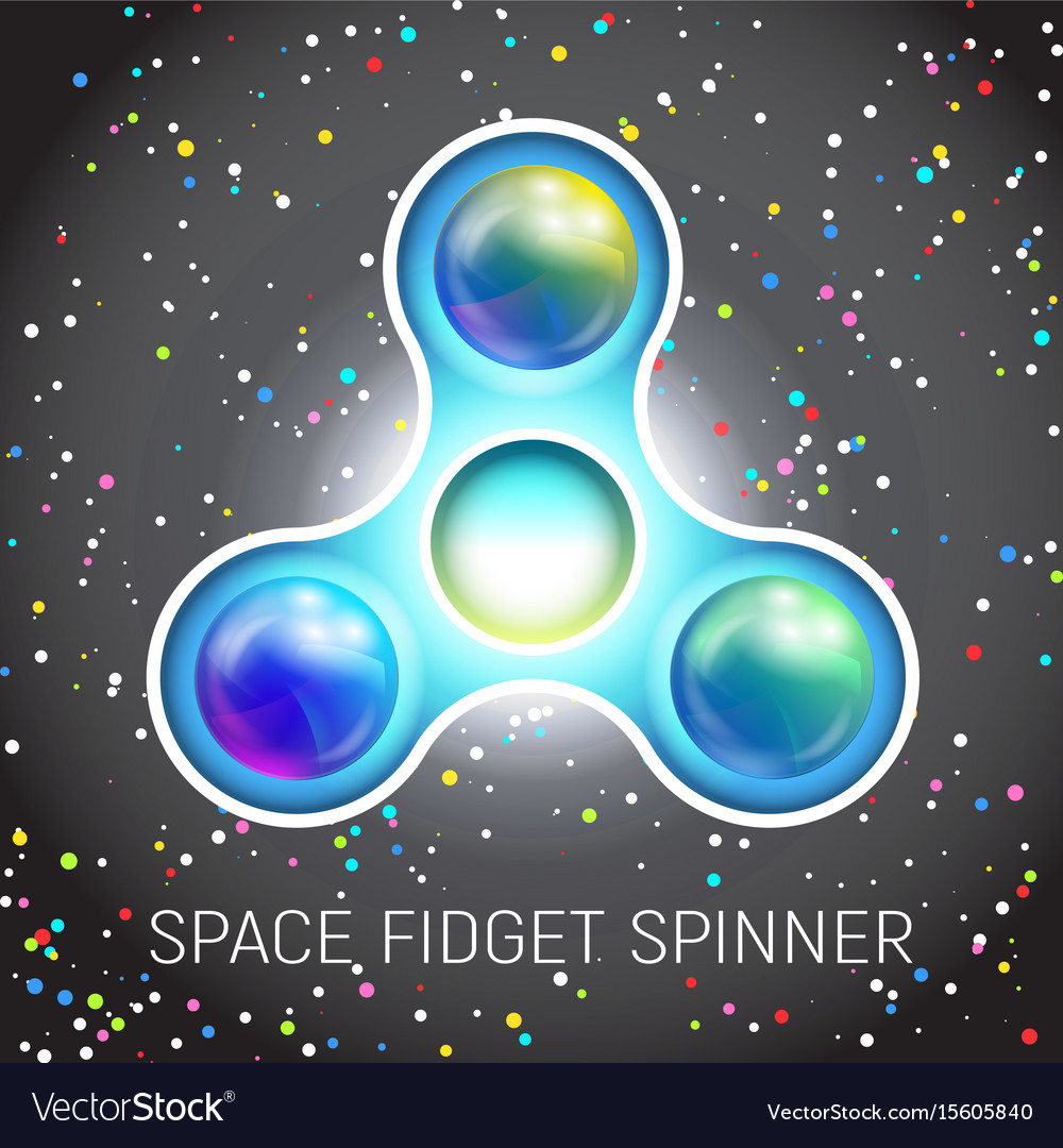 Space fidget spinner toy with three blades vector image