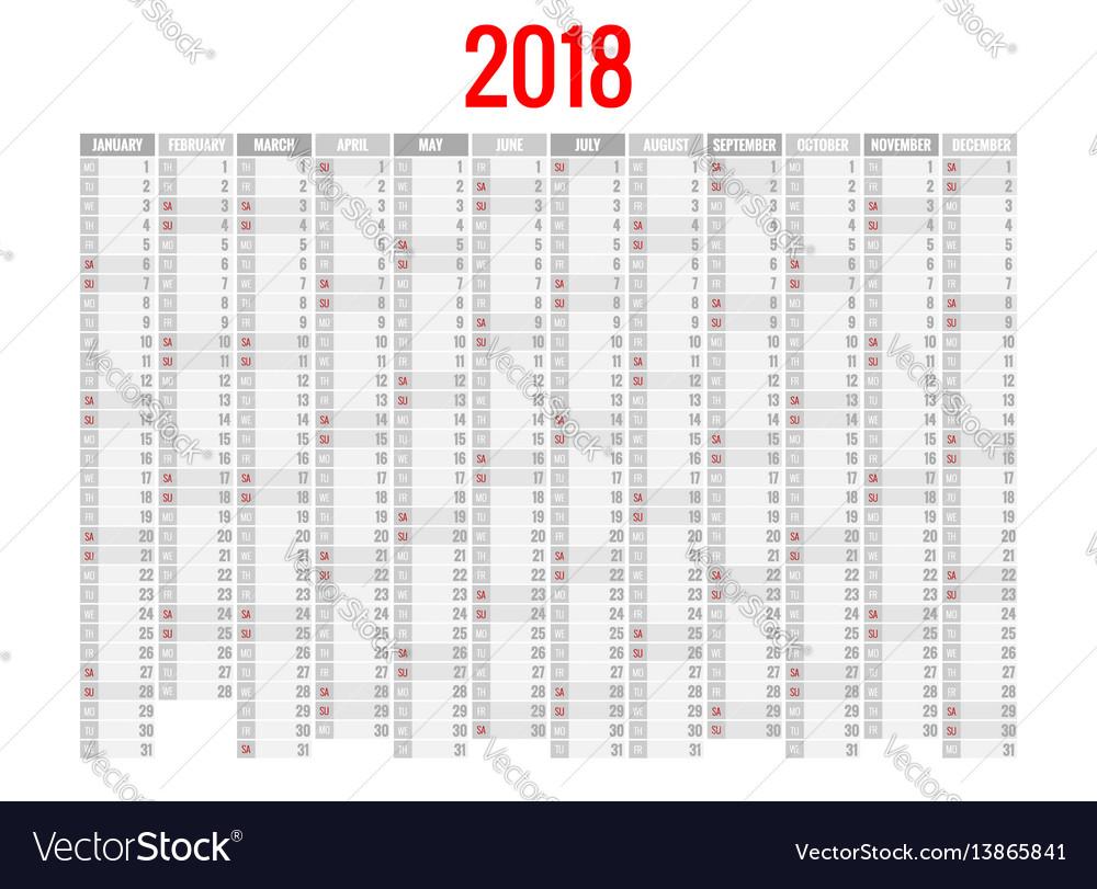 2018 calendar print template week starts sunday vector image