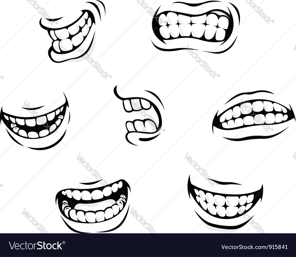 Smiling and angry cartoon teeth vector image