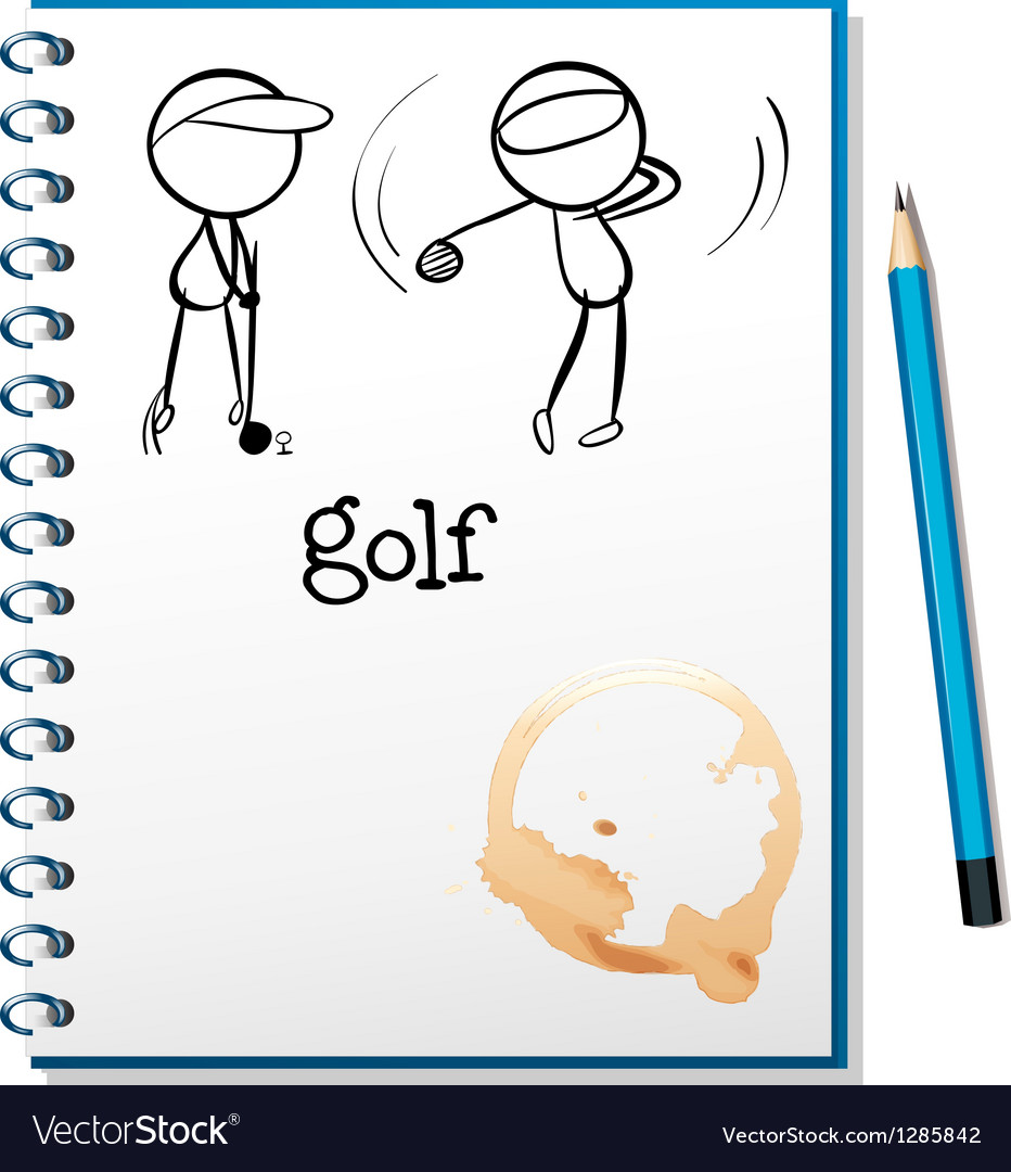 A notebook with a sketch of two people playing vector image