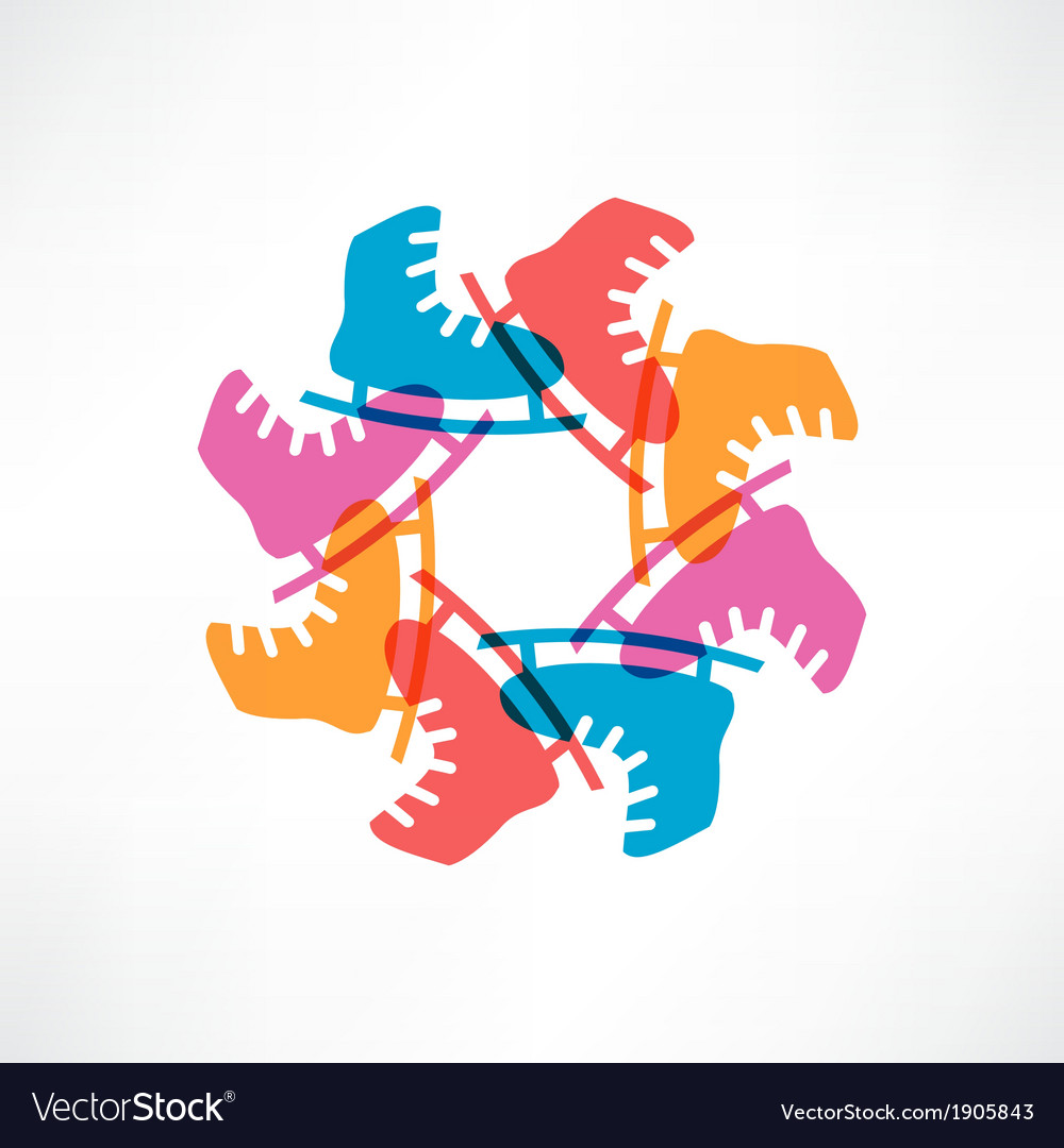 Circle of colored skates vector image