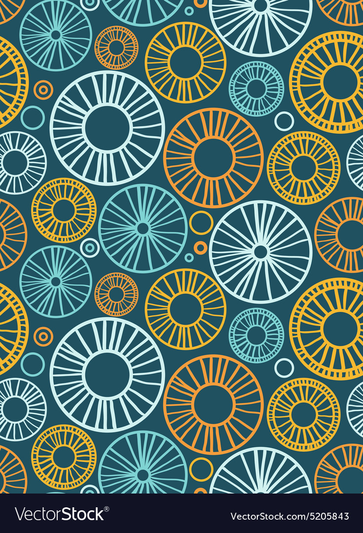 Circles and radial elements Seamless background vector image