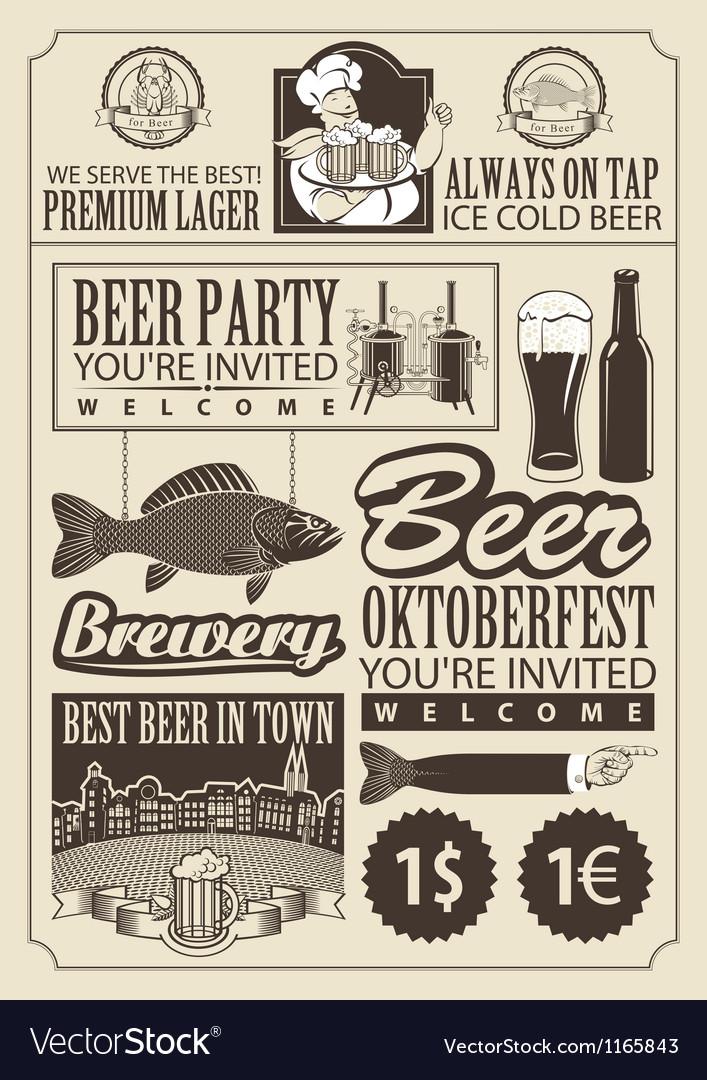 Subject of beer vector image