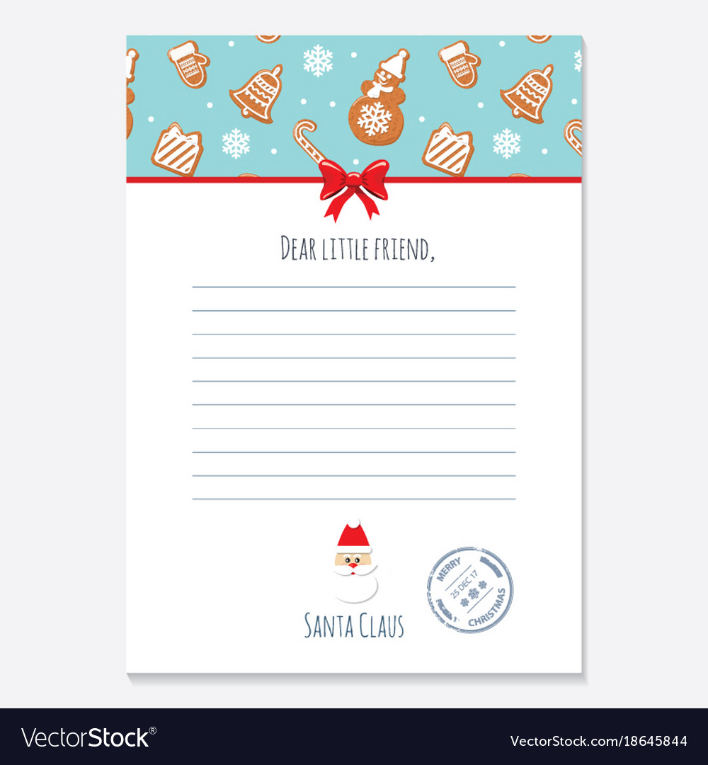 christmas letter from santa claus template layout vector image