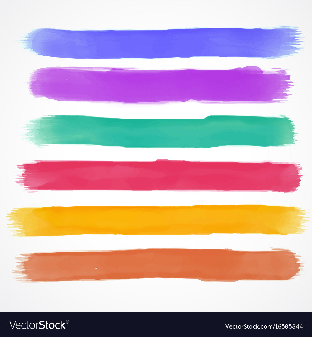 Watercolor brush stroke set hand painted vector image