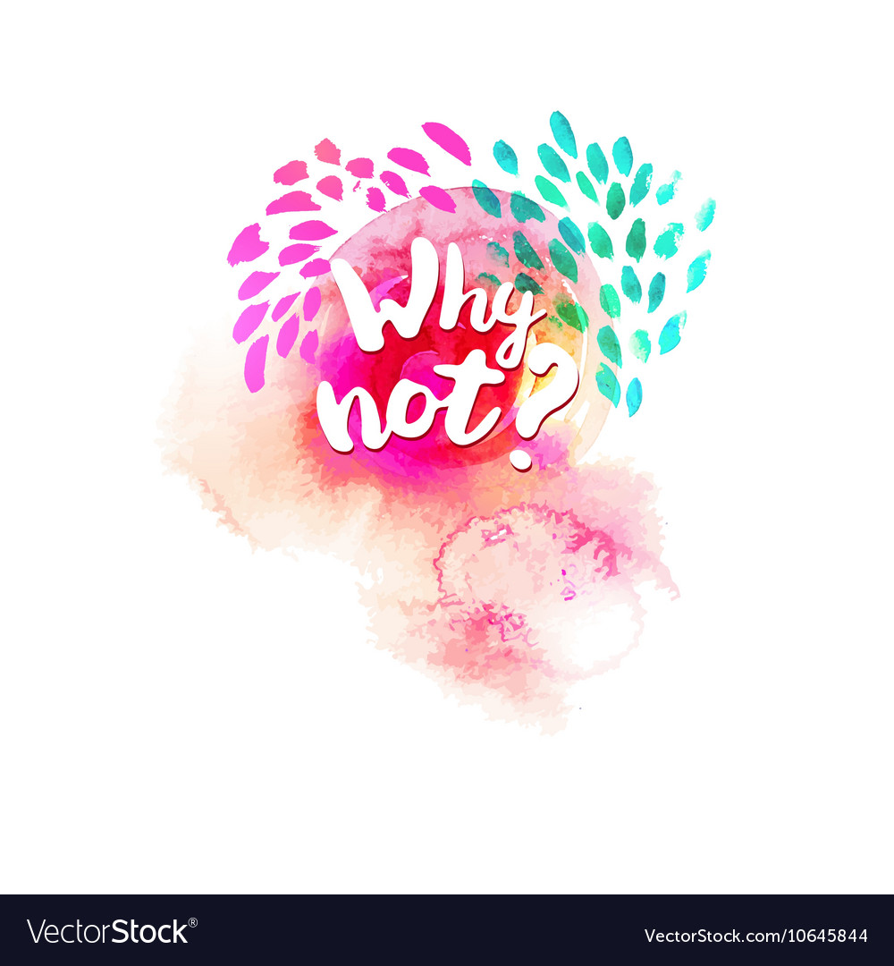 Why not typography at watercolor vector image