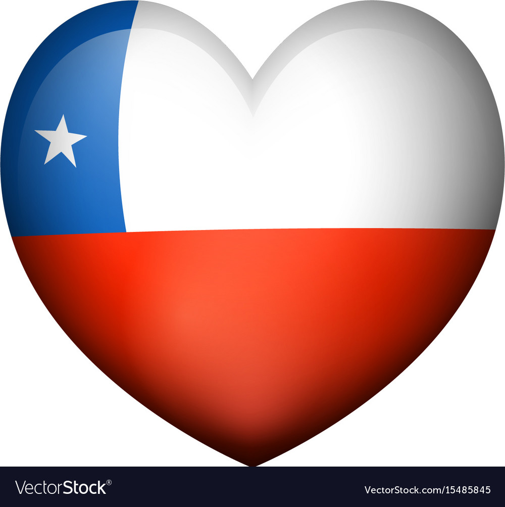 Flag of chile in heart shape vector image