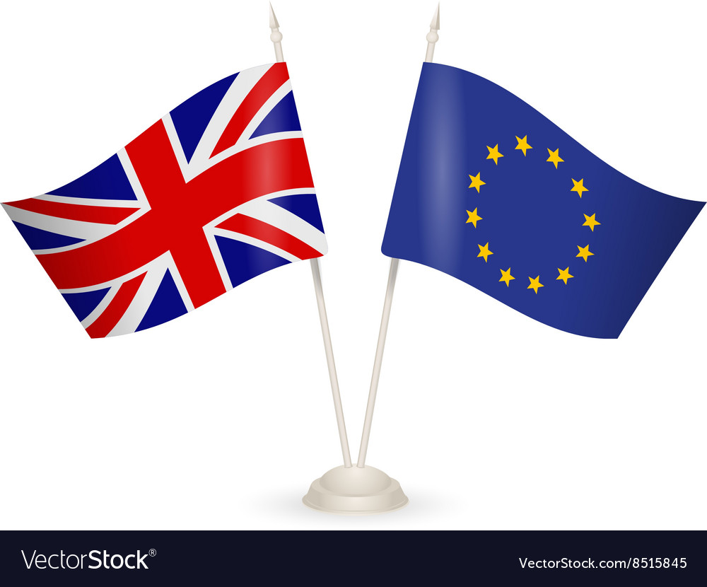 Table stand with flags of England and US vector image