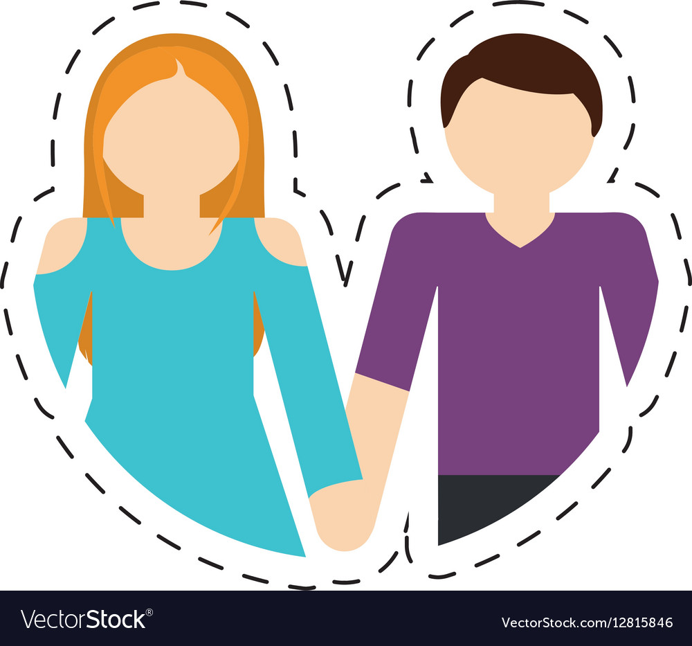 Couple romantic love relationship cut line vector image