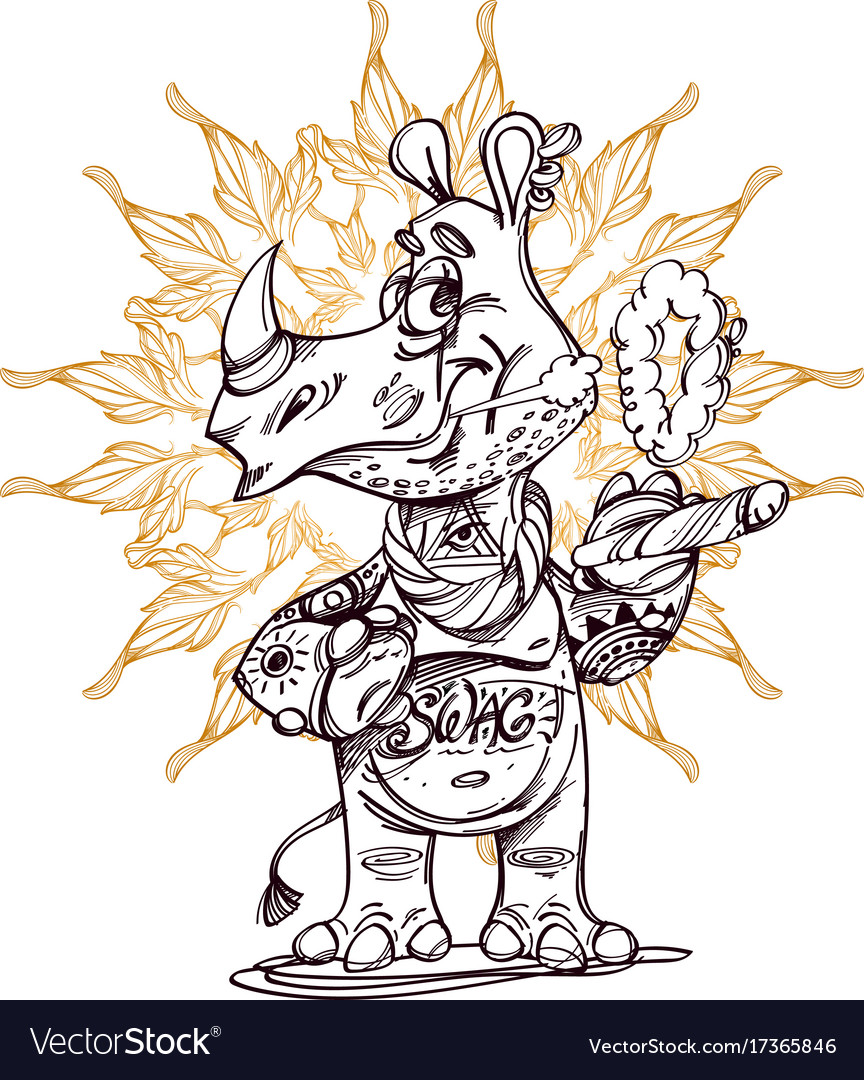 Cute rhinoceros standing with sigara vector image