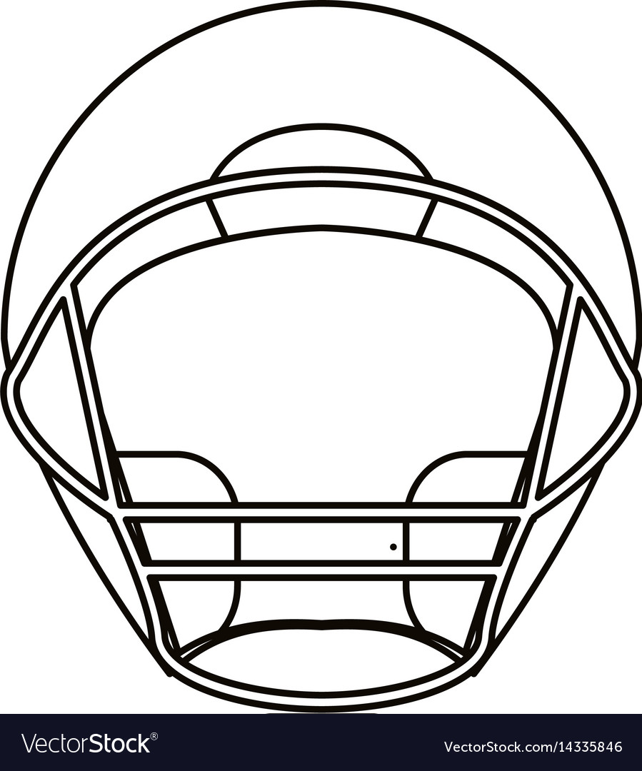 helmet american football front view outline vector image - Football Outline