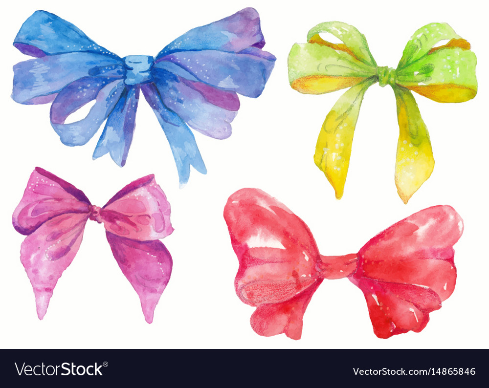 Watercolor hand-drawn set of bows vector image