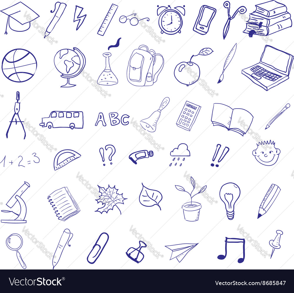 Set of hand drawn icons Education back to school vector image