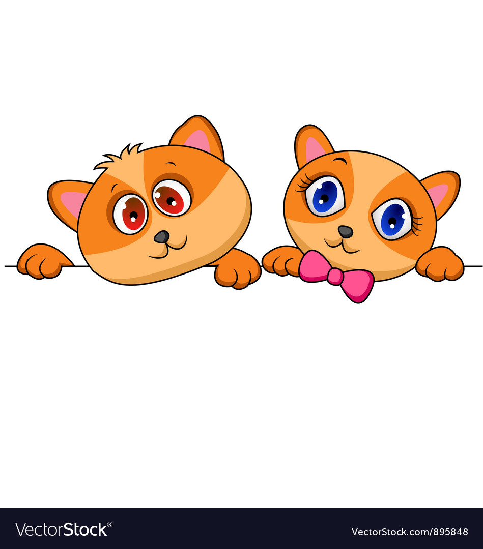 Cat and dog cartoon with blank sign vector image
